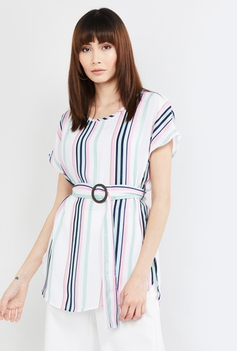 MAX Striped Tunic with Belt