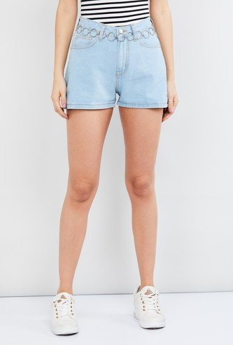 MAX Washed Denim Shorts with Chain Belt