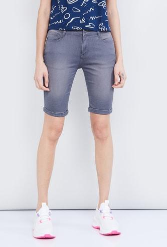 MAX Stonewashed Denim Shorts