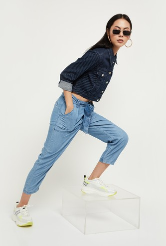MAX Striped Cropped Denim Jacket