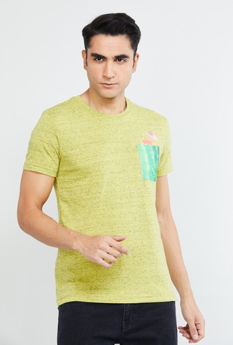 MAX Heathered Crew-Neck T-shirt with Printed Patch Pocket
