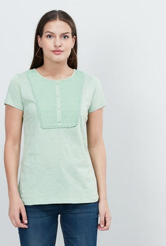 MAX Lace Panelled Cap Sleeves T-shirt