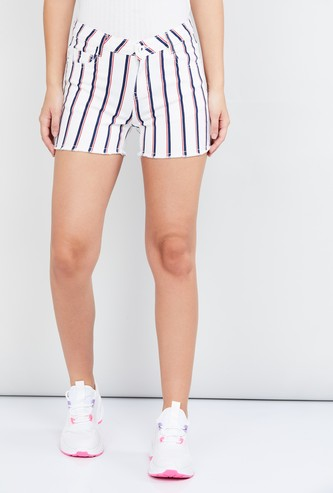 MAX Frayed Hems Striped Denim Shorts with Detachable Belt