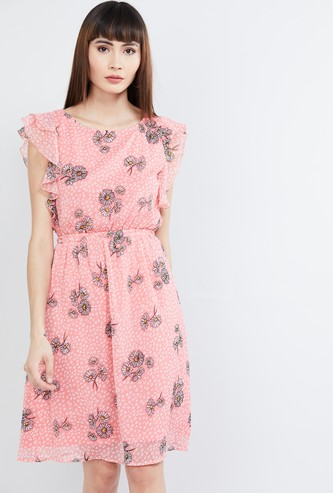 MAX Floral Print Fit & Flare Dress with Flutter Sleeves