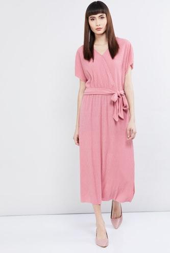 MAX Solid Wrap Midi Dress