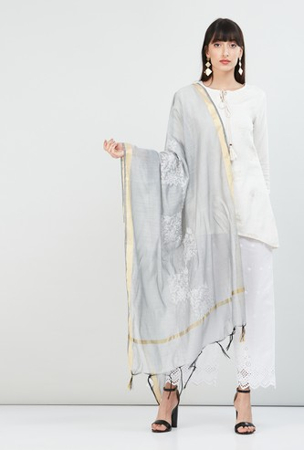 MAX Embroidered Dupatta with Tasselled Border