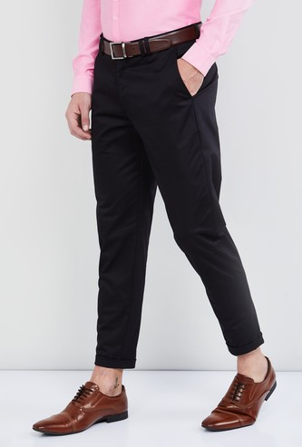 MAX Solid Slim Tapered Trousers