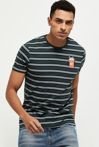 MAX Striped Crew Neck T-shirt with Applique