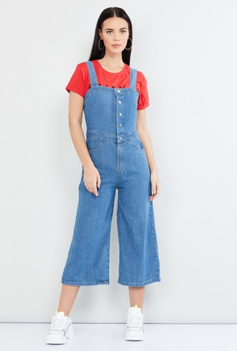MAX Solid Cropped Denim Dungarees
