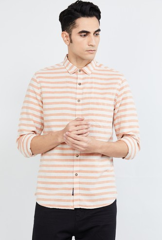 MAX Striped Full Sleeves Casual Slim Fit Shirt