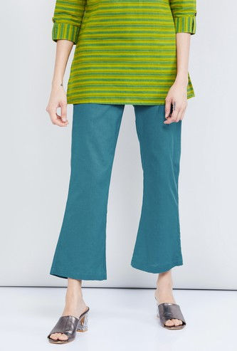 MAX Solid Cropped Flared Pants