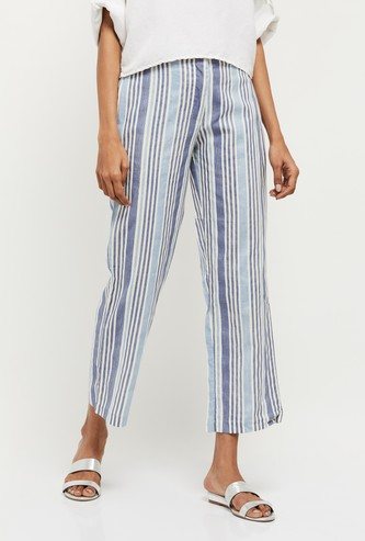 MAX Striped Elasticated Straight Pants