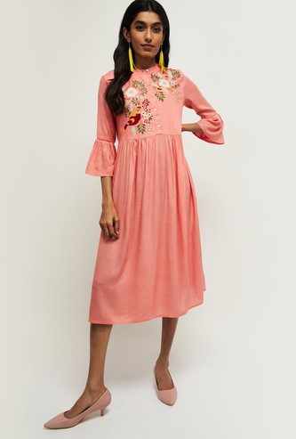 MAX Embroidered Bell Sleeves A-line Dress