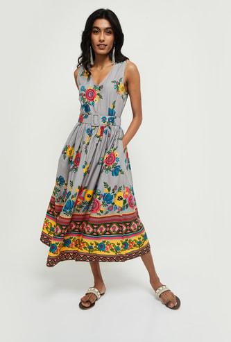 MAX Floral Print V-neck Midi Dress with Fabric Belt