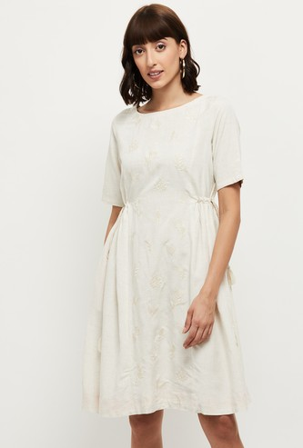 MAX Embroidered Short Sleeves A-line Dress