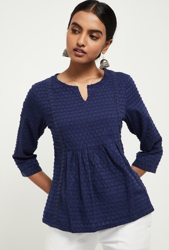 MAX Textured Notched Neck Top