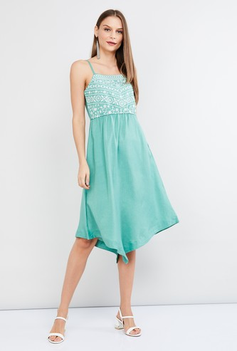 MAX Printed Sleeveless Fit & Flare Asymmetrical Dress