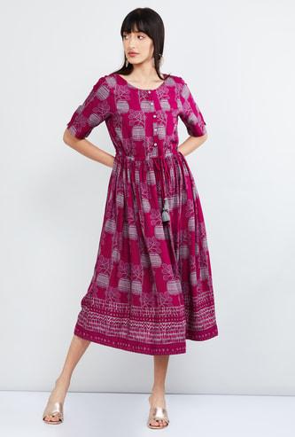 MAX Printed A-line Midi Dress