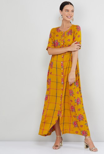 MAX Floral Print Short Sleeves Maxi Dress