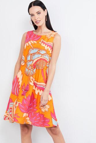 MAX Printed Tie-Up Waist A-line Dress