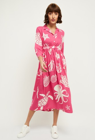 MAX Printed Collared A-Line Dress