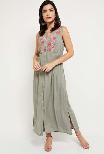 Max Embroidered V-neck Maxi Dress with Side Slits