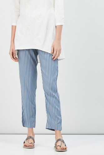 MAX Striped Cropped Eco Liva Straight Pants