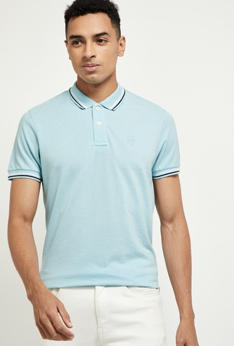 MAX Textured Polo T-shirt with Contrast Taping