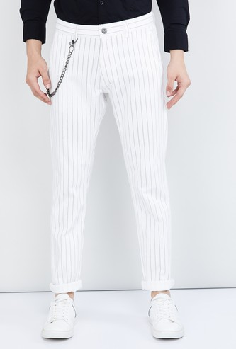 MAX Striped Woven Casual Pants With Chain