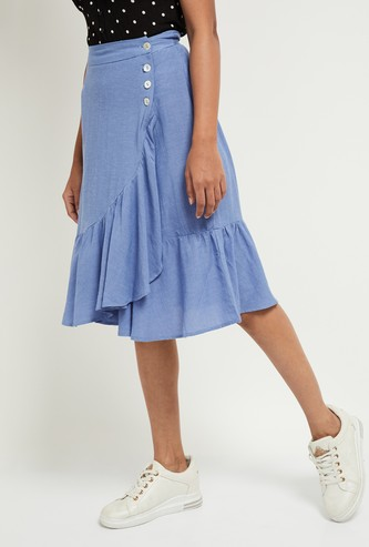 MAX Solid Ruffle Detailed Skirt