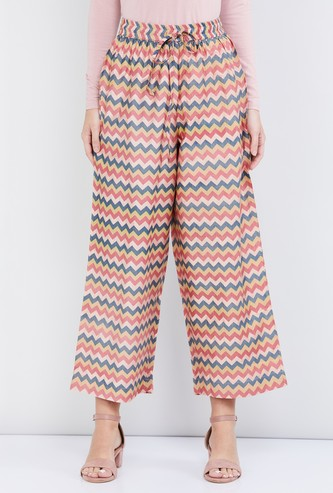 MAX Chevron Print Calf-Length Straight Pants