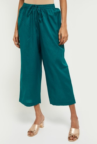 MAX Solid Elasticated Cropped Palazzos