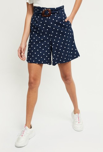 MAX Polka Dot Print Woven Shorts
