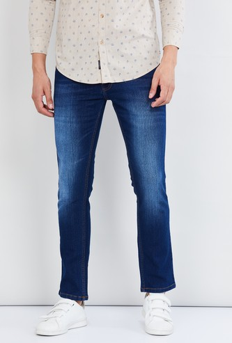MAX Dark Washed Regular Fit Jeans with Whiskers