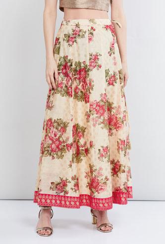 MAX Floral Print Tassel Detailed Skirt