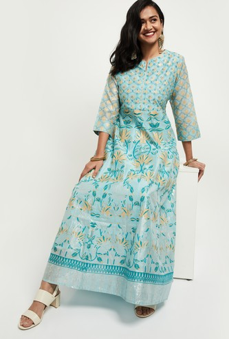 MAX Embroidered Flared Maxi Dress