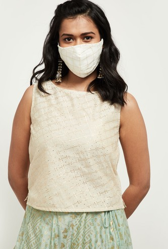MAX Checked Sleeveless Blouse with Face Mask