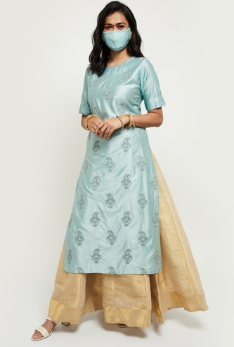 MAX Embroidered Three-quarter Sleeves Kurta with Mask