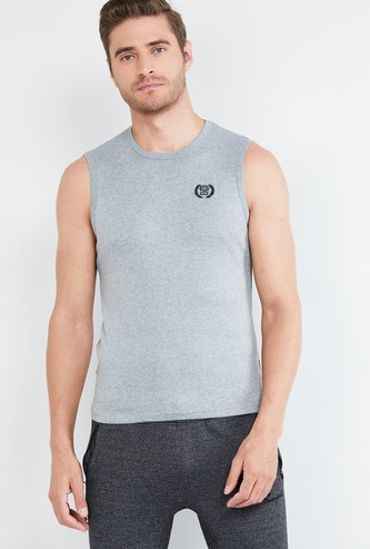 MAX Textured Sleeveless T-shirt