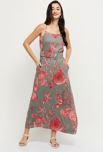 MAX Printed Maxi Dress with Belt Accent