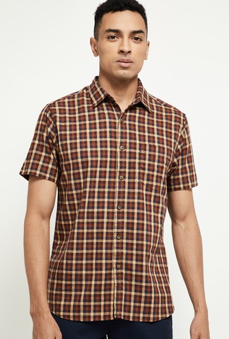 MAX Checked Casual Slim Fit Shirt with Short Sleeves