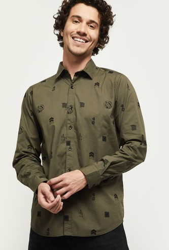 MAX Printed Spread Collar Casual Shirt
