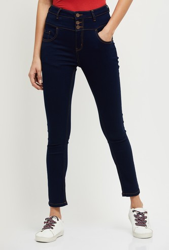 MAX Solid High-Waist Skinny Fit Jeans