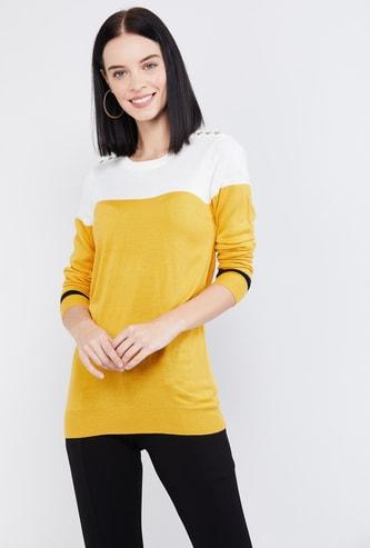 MAX Colourblocked Full Sleeves Sweater