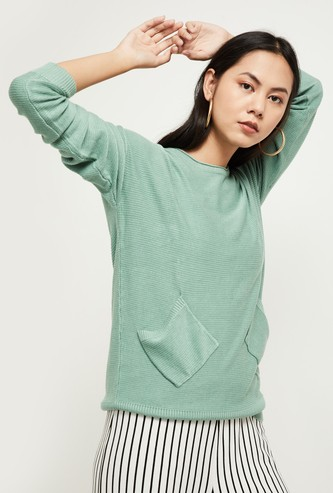MAX Ribbed Sweater with Insert Pockets