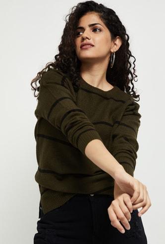 MAX Striped Drop-Shoulder Sweater