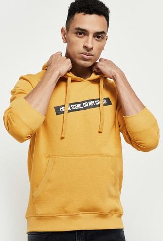MAX Typographic Print Hoodie with Kangaroo Pockets