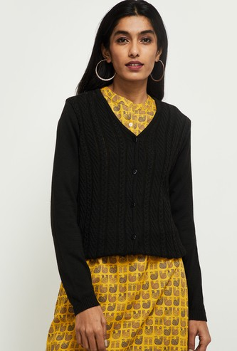 MAX Cable Knit V-neck Cardigan