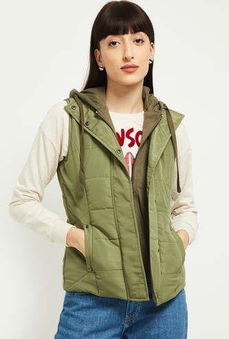 MAX Solid Hooded Puffer Jacket