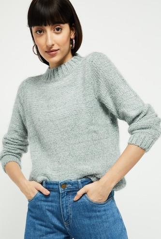 MAX Solid High-Neck Sweater
